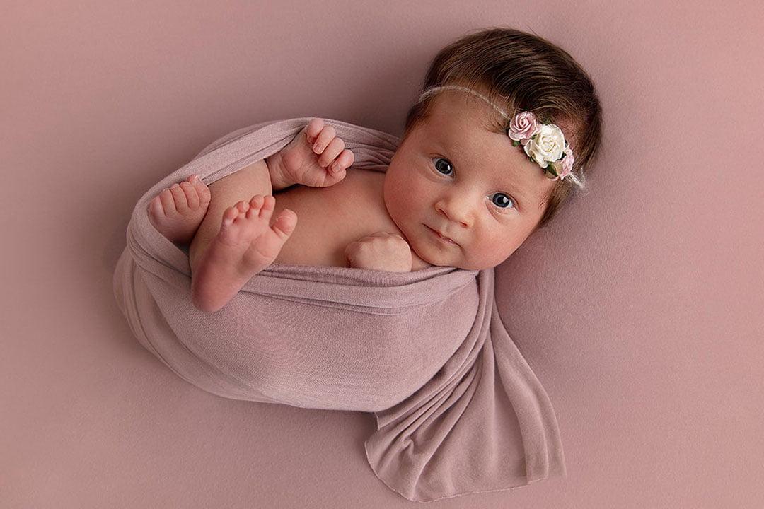 wide awake baby girl by Newborn Photographer Bradford