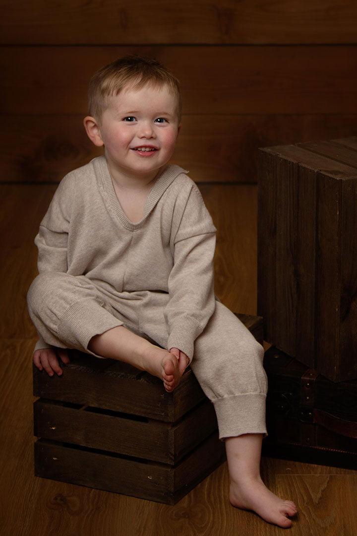 little boy in sleeping outfit photographed by Baby photography Leeds