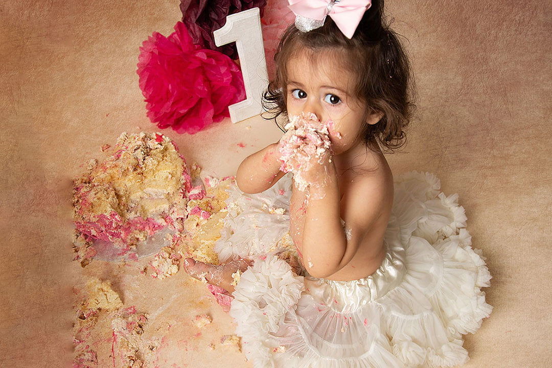 Cake Smash baby girl by Newborn Photographer Leeds