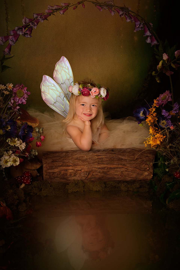 blonde fairy in enchanted forest child photography in Bradford