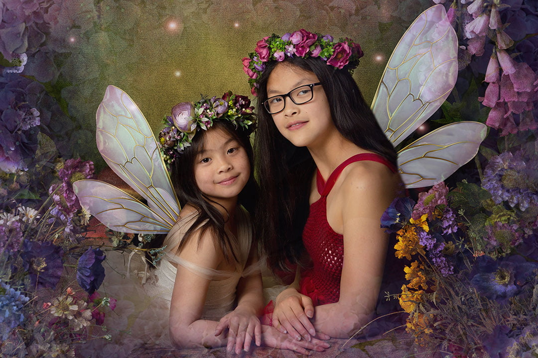 sisters together in enchanted forest Bradford Pho Child Photography