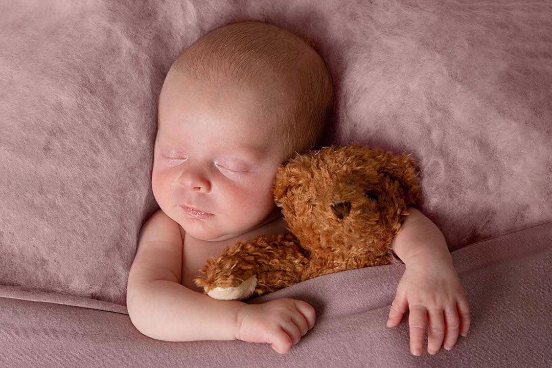 baby girl asleep in pink Newborn Photography Bradford