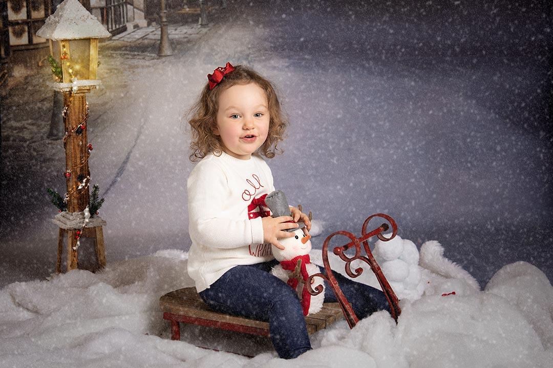 snow scene with snowman