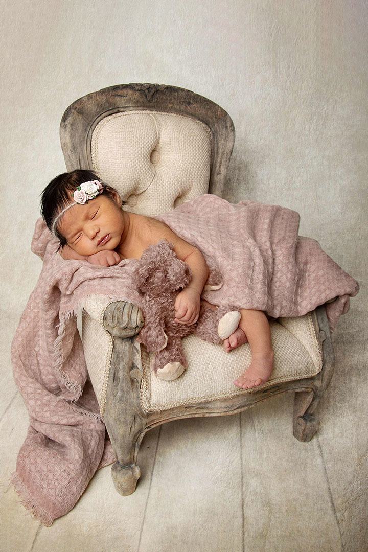 louise chair in baby photos in Bradford